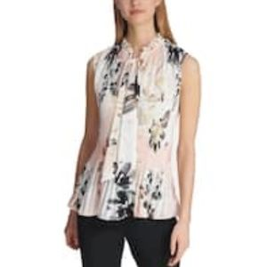 EUC DKNY PLEATED FLORAL TIE-NECK TOP